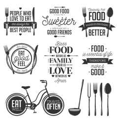 Set vintage food related typographic quotes vector