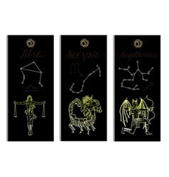 Set with scales scorpio and archer zodiac symbols vector