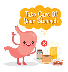 Stomach human internal organ cartoon character vector