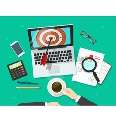 Successful business target manager working on vector
