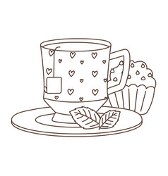 tea time cup and sweet cupcake in dish mint vector image