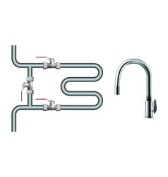 towel rack and faucet vector image