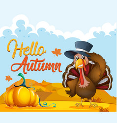 turkey on autumn template vector image