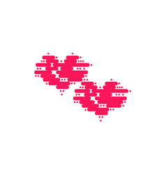 two heart of floating clouds heart icon modern vector image