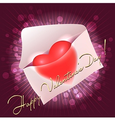 valentine greeting card with heart in the message vector image