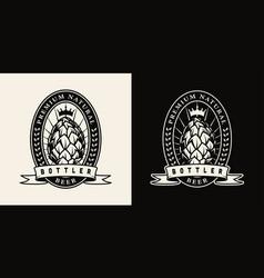Vintage beer monochrome label vector