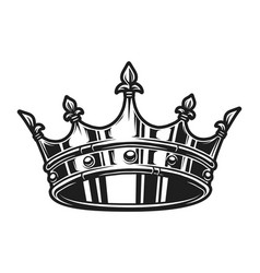 vintage monochrome royal crown template vector image