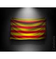 Waving flag catalonia on a dark wall vector