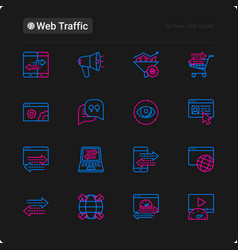Web traffic thin line icons set vector