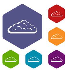 Wet cloud icons set hexagon vector