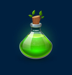 Witchcraft green potion in bottle growth elixir vector