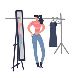 women shopping girl is trying on fashion female vector image