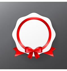 044 White badge banner with red ribbon eps10 vector image vector image