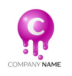 c letter splash logo purple dots and bubbles vector image vector image