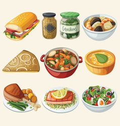 Collection of traditional french dinner meals vector image vector image