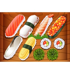 Different flavors of sushi vector image vector image