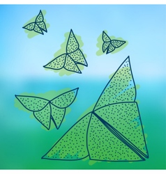 Drawing of origami butterflies in hairline style vector image vector image