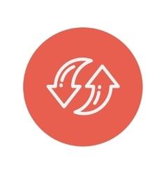 Pair of arrow thin line icon vector