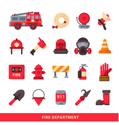 set of designed firefighter elements coloured fire vector image