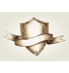 Sketch of a shield emblem vector image vector image