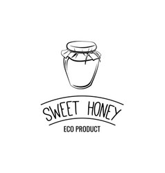 small glass jar sweet honey label logo badge eco vector image vector image