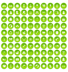 100 children icons set green circle vector image vector image