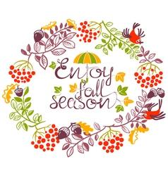 Autumn wreath doode design with birds and acorns vector image vector image