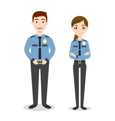 characters two young happy police officers man and vector image vector image