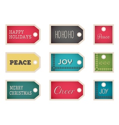 christmas holiday tags on a white background vector image vector image