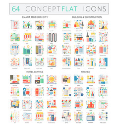 infographics concept icons of smart city building vector image vector image
