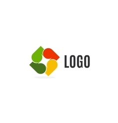 Isolated abstract colorful leaves logo on white vector image vector image