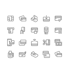 Line Credit Card Icons vector image
