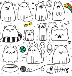 Set of 11 sticker doodle cats different emotions vector
