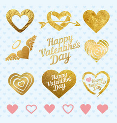 Set of golden hearts for wedding decorations or vector