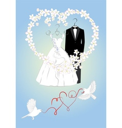 Wedding invitation with bride and groom dress vector image vector image
