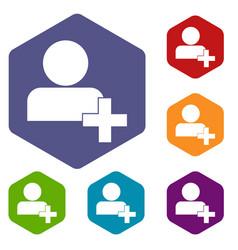 add new user account icons set vector image