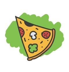 Cartoon doodle slice of pizza vector image