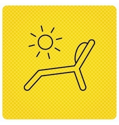 Deck chair icon Beach chaise longue sign vector image