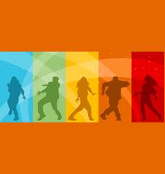 five dancing teenagers vector image