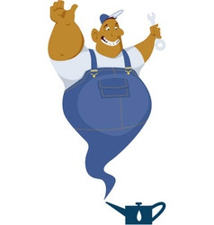 Genie mechanic coming out of an oil can vector image vector image