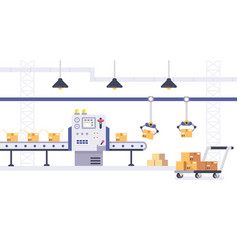 packing and production line concept in flat style vector image