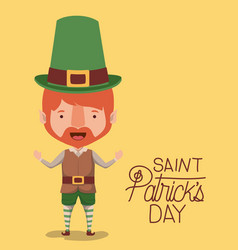 poster saint patricks day with elf in colorful vector image