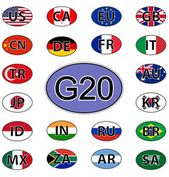 Set oval stickers flags of the g20 countries vector
