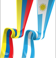Uruguayan colombian ribbon flag on background vector
