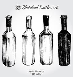 Wine bottle - sketch and vintage vector image vector image
