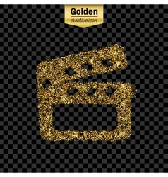 Gold glitter icon of clapboard isolated on vector image vector image
