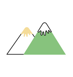 mountain peak nature snow camp icon vector image