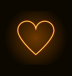 neon heart sign yellow color vector image