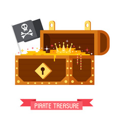 pirate treasure chest and jolly roger flag vector image vector image