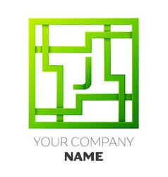 realistic letter j symbol in colorful square maze vector image